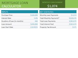 mortgage loan calculator office templates