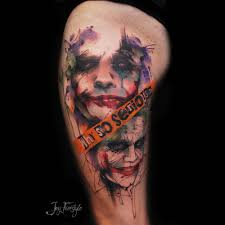 watercolor sketchy style the joker tattoo on the left