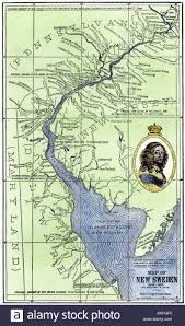 colonial map map of colonial sweden in america 1600s stock photo royalty
