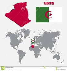 Algeria On World Map by Algeria Map On A World Map With Flag And Map Pointer Vector