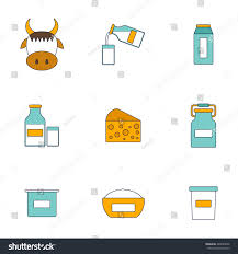 Lactose Intolerance Cottage Cheese by Set Modern Flat Icons Products Containing Stock Vector 285849698