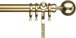 Discount Curtain Rods Regency Celtic 30mm Curtain Pole Bright Brass Ball Just