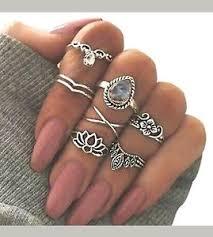 midi rings set 7pcs set silver above knuckle band midi rings new flowers lotus