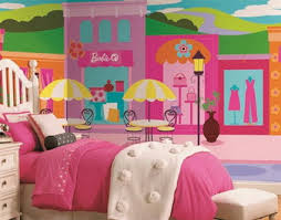 Colorful Barbie City Wall Murals Stickers For Pink Teenage Girls - Girls bedroom wall murals