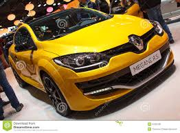 renault yellow yellow renault megane r s geneva motor show 2015 editorial image