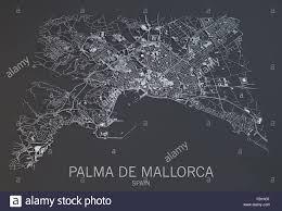 Satellite View Map Palma De Mallorca Satellite View Map Balearic Spain Stock