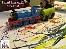 painting trains simple process art kids