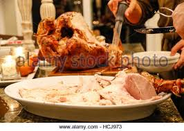 carved thanksgiving turkey ready to eat stock photo royalty free