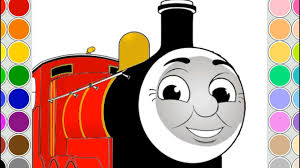coloring james train kids drawing animation thomas