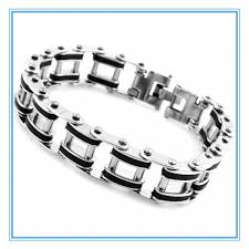 mens bracelet stainless steel rubber images Mens sports fashion designer bracelet silver stainless steel black jpg