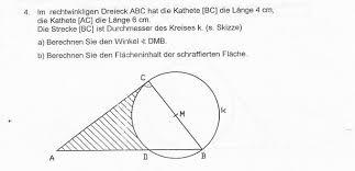 fläche kreis rechtwinkliges dreieck mit kreis fläche und winkel berechnen