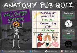 halloween anatomy pub quiz kcl anatomy society
