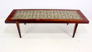 danish modern rosewood coffee table with handcrafted tiles by