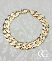 gold bracelet chains images Men 39 s 9ct yellow gold chunky heavy solid curb bracelet 9 inch jpg