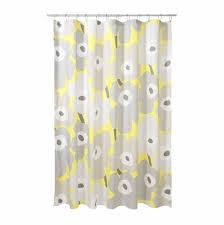 marimekko unikko grey yellow cotton shower curtain marimekko