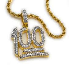 gold necklace hip hop images 18k gold iced out 100 emoji pendant with rope chain niv 39 s bling jpg