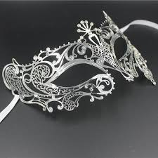 silver masquerade masks for women half skull metal prom venetian masquerade mask set men