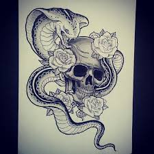 collection of 25 roses snake and skull designs