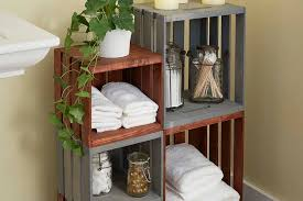 Wooden Storage Shelves Diy by Diy Bathroom Storage Shelves Made From Wooden Crates