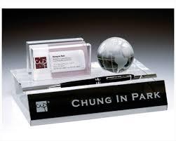 Custom Desk Plates Engraved Crystal Name Plate Business Card U0026 Pen Holder With Globe