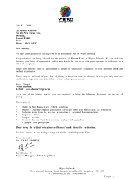 sample of acknowledgement letter for project report wipro offer letter employee benefits employment
