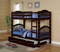Twin Twin Espresso Finish Wood Kids Bunk Bed With Trundle - Espresso bunk bed