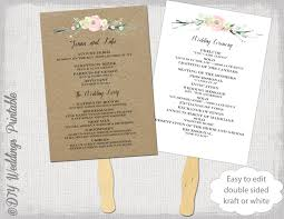 fan program wedding program fan template rustic flowers diy