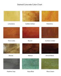 Stain Color Chart Concrete Coating Color Chart Stained Concrete U2014 Taylored Finishes Llc