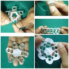 diy snowflake from bottle pull tabs busybeaver5 pinterest