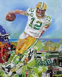 torn paper collage painting green bay packer wetcanvas
