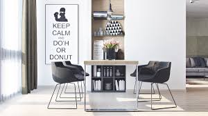 4 small apartment designs under 50 square meters assess myhome the home s dining area and kitchen play on the same theme white space dotted with