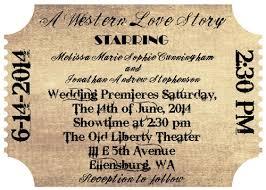 Movie Ticket Wedding Invitations Old Western Style Movie Ticket Wedding Invitation