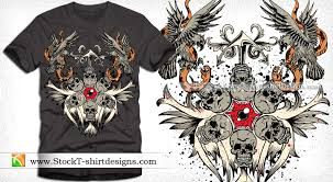 vector t shirt design with skull eagle and snake vector t shirt