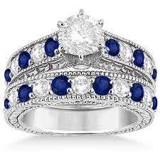 wedding sets on sale antique diamond sapphire bridal ring set 14k white gold 2 87ct