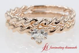 Rose Gold Wedding Ring Sets by Twist Style Solitaire Heart Shaped Wedding Ring Sets In Rose Gold