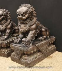 foo dog statues high ft large fu foo dog lion statues solid carved garden