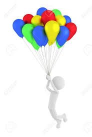 3d person holding colored balloons and flying stock photo picture