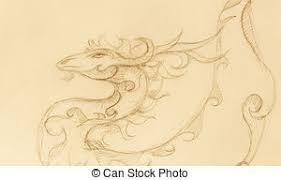stock illustration of sketch of tattoo art dragon over antique