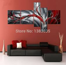 hand painted 4 piece red black and white paintings modern oil