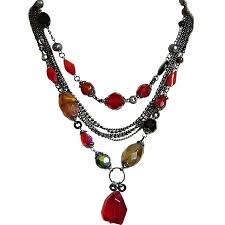 necklace stone bead images Red glass stone bead multi row strand layer chain costume necklace uk jpg