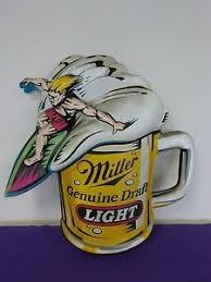 miller genuine draft light vintage miller genuine draft light beer sign large surfing mug ebay