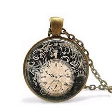 vintage necklace watch pendant images Steampunk vintage clock necklace round clock pocket watch pendant jpg