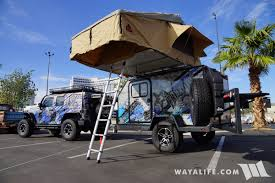 jeep camping trailer 2017 sema freedom overland blue jeep jk wrangler unlimited trailer