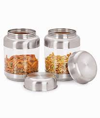 sizzle transparent containers 575 ml set of 2 crystal storage jar
