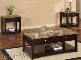 Marble Top Sofa Table by Jas Espresso Finish Coffee End Table W Faux Marble Lift Top Set
