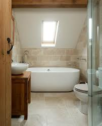 the rustic stone and simple modern tub and sink surprisingly