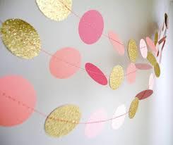 pink garland paper garland diy kit gold and pink circles baby girl 1st