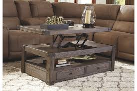 Weathered Wood Coffee Table Burladen Coffee Table With Lift Top Ashley Furniture Homestore