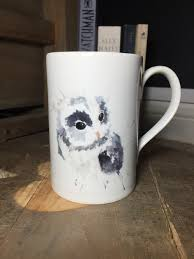 owl mug baby owl mug watercolour artist herefordshire rainbird roots