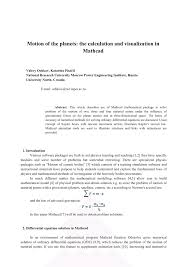 motion of the planets the calculation and visualization in mathcad